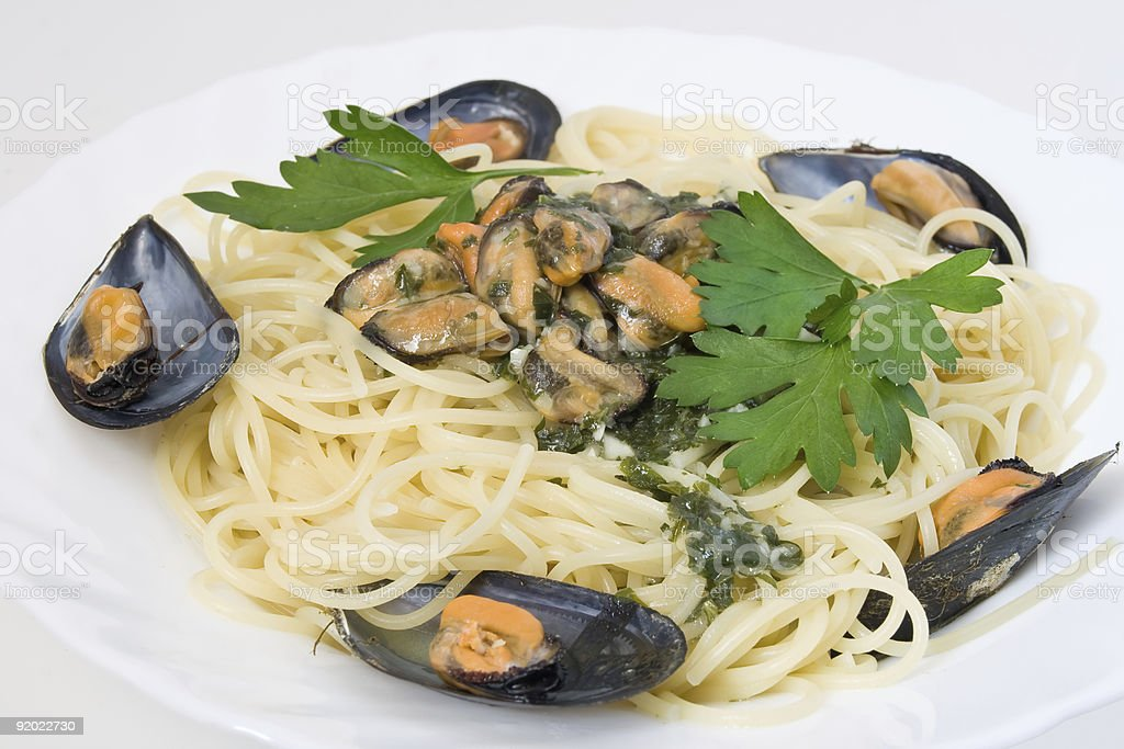 Spaghetti with mussels royalty-free stock photo
