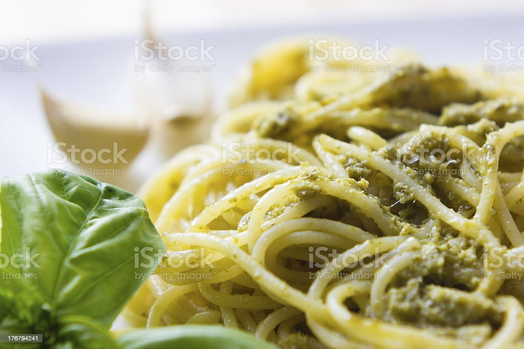 Spaghetti with pesto Genovese royalty-free stock photo