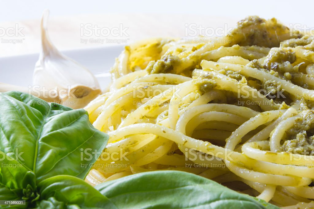 Spaghetti with pesto Genovese royalty-free stock photo