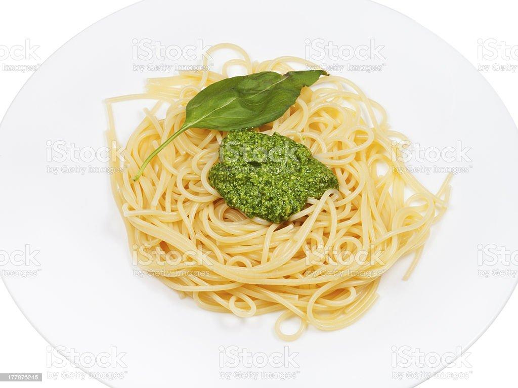 spaghetti with pesto on white plate royalty-free stock photo
