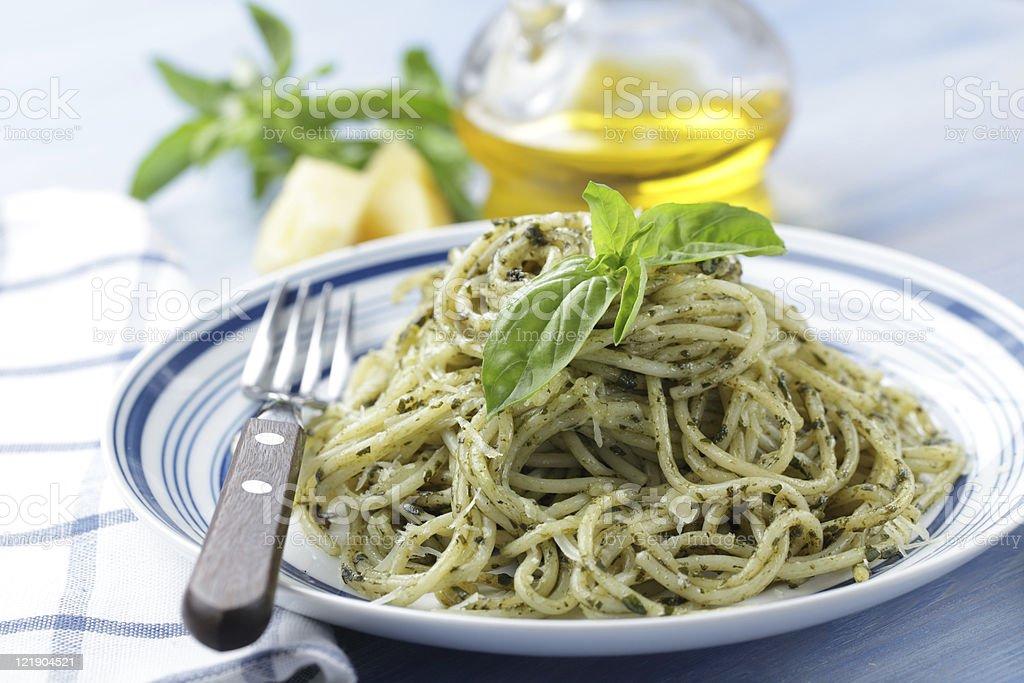 Spaghetti with pesto royalty-free stock photo