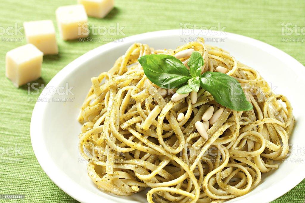 Spaghetti with pesto sauce royalty-free stock photo