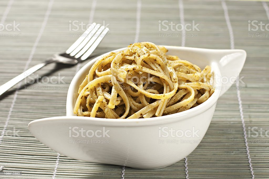 Spaghetti with pesto sauce royalty-free stock photo