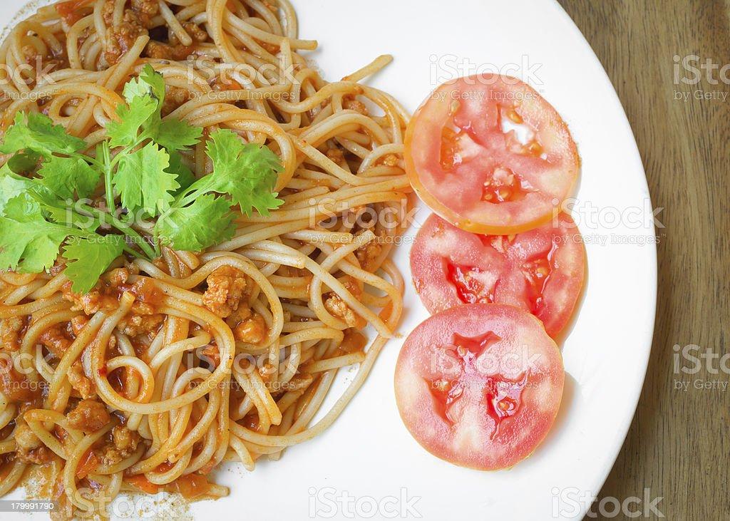 spaghetti with pork tomato sauce stock photo