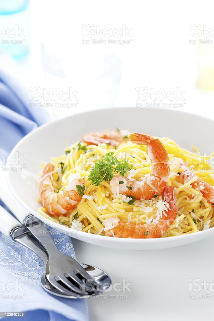 Spaghetti with prawns royalty-free stock photo