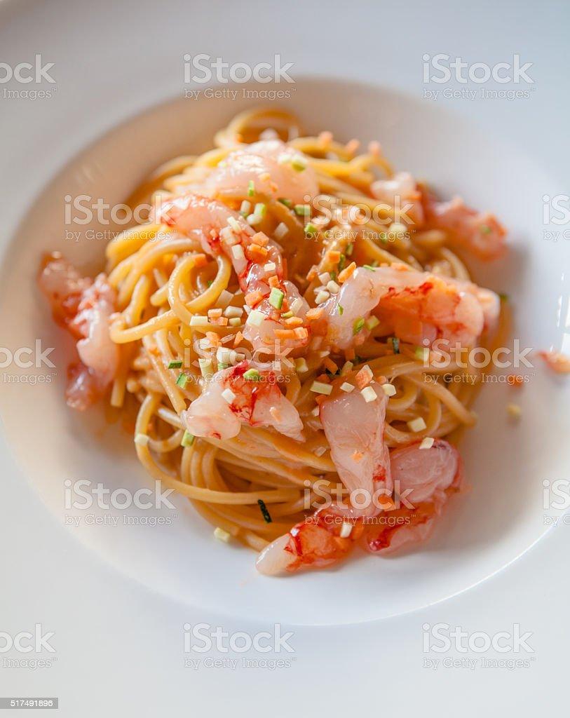 Spaghetti with Raw Shrimps stock photo