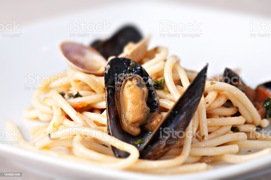 Spaghetti with seafood royalty-free stock photo