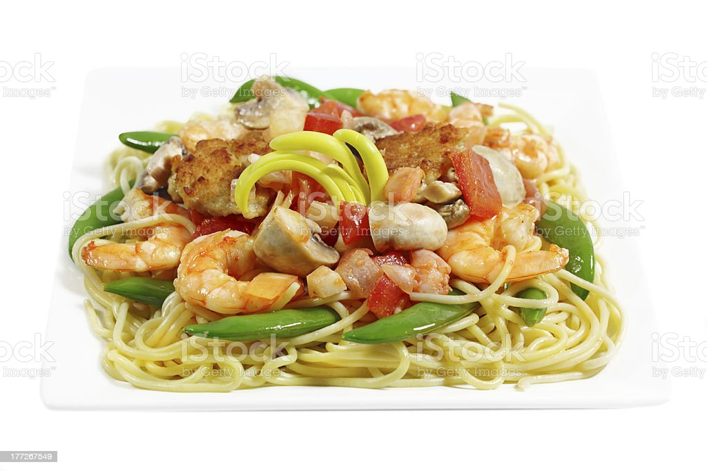 Spaghetti with Shrimp royalty-free stock photo
