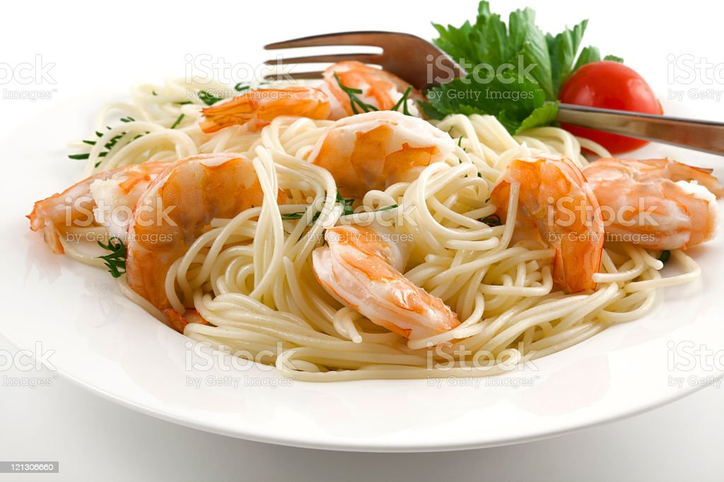 spaghetti with shrimps royalty-free stock photo