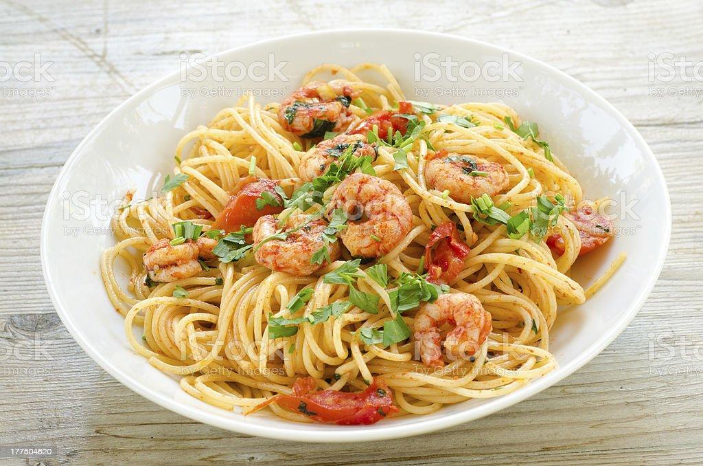 Spaghetti with shrimps royalty-free stock photo