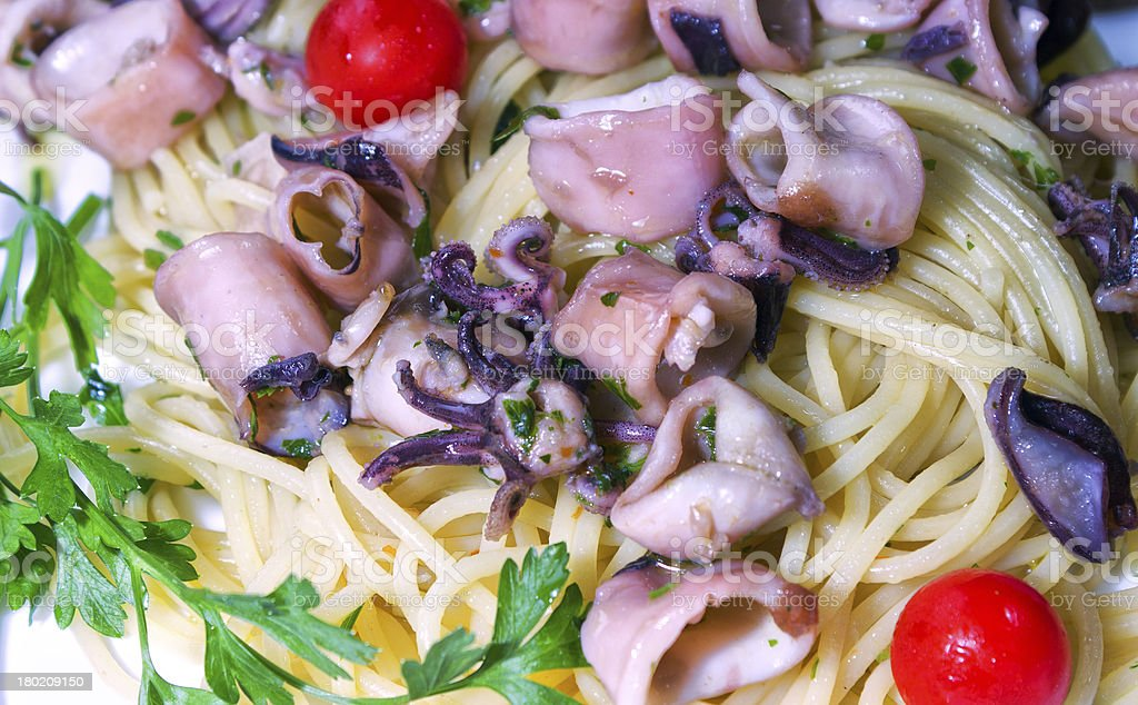 Spaghetti with squid royalty-free stock photo