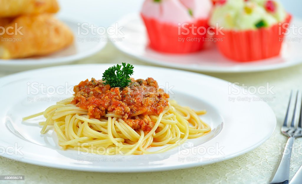 spaghetti z sosem pomidor wołowiny zbiór zdjęć royalty-free