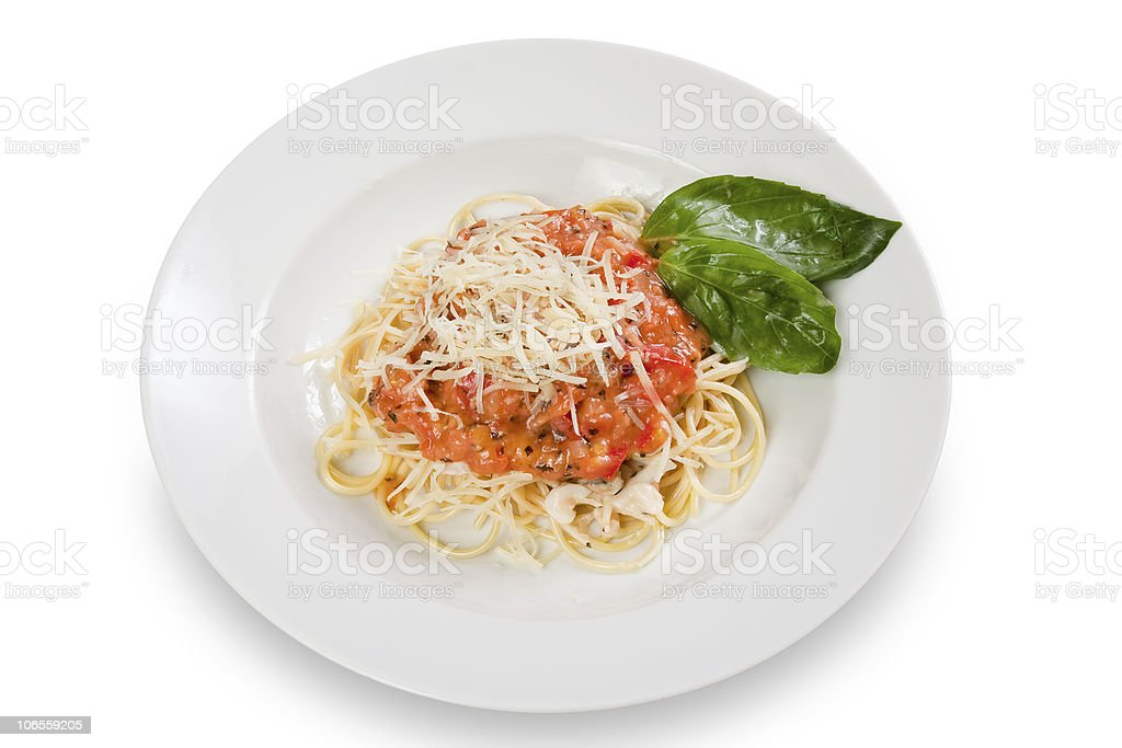 spaghetti with tomato sauce and cheese royalty-free stock photo