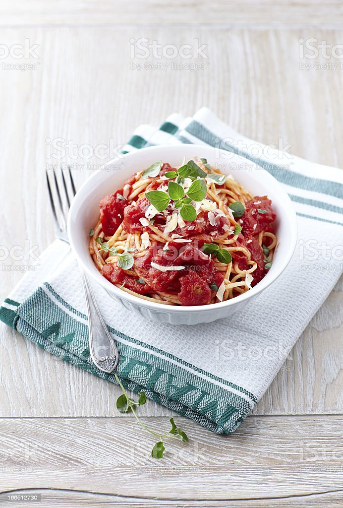 Spaghetti with tomato sauce and parmesan royalty-free stock photo