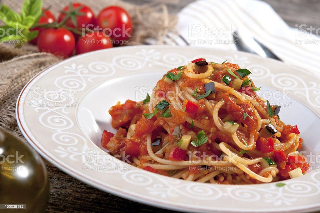 Spaghetti with tomato sauce and vegetable royalty-free stock photo