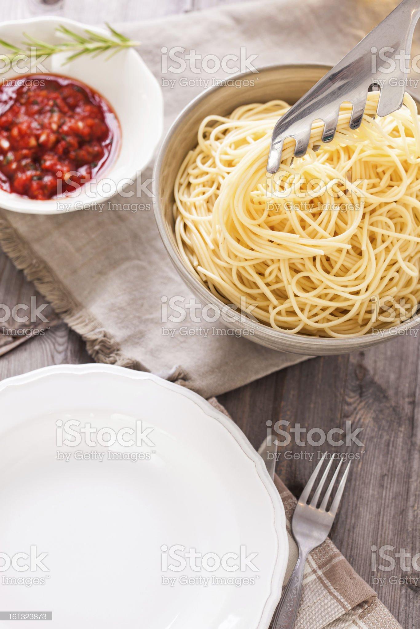 Spaghetti with Tomato Sauce royalty-free stock photo