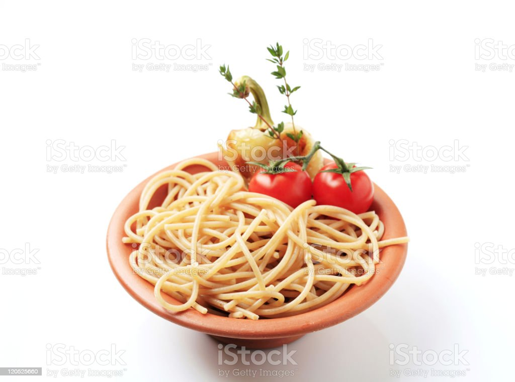 spaghetti with tomatoes royalty-free stock photo