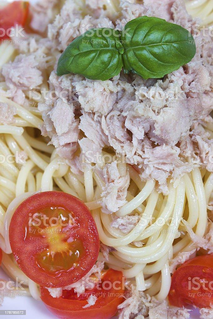 Spaghetti with tuna and tomato royalty-free stock photo