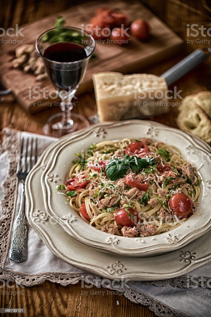 Spaghetti with tuna and tomatoes royalty-free stock photo