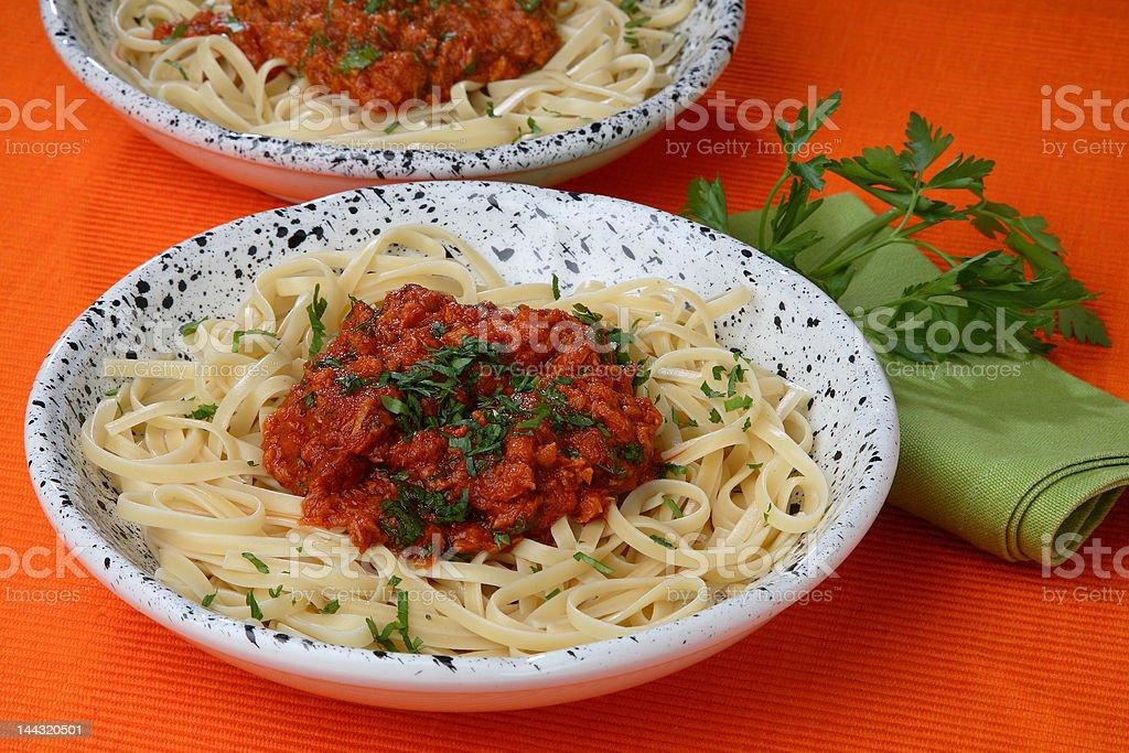 Spaghetti with tuna royalty-free stock photo