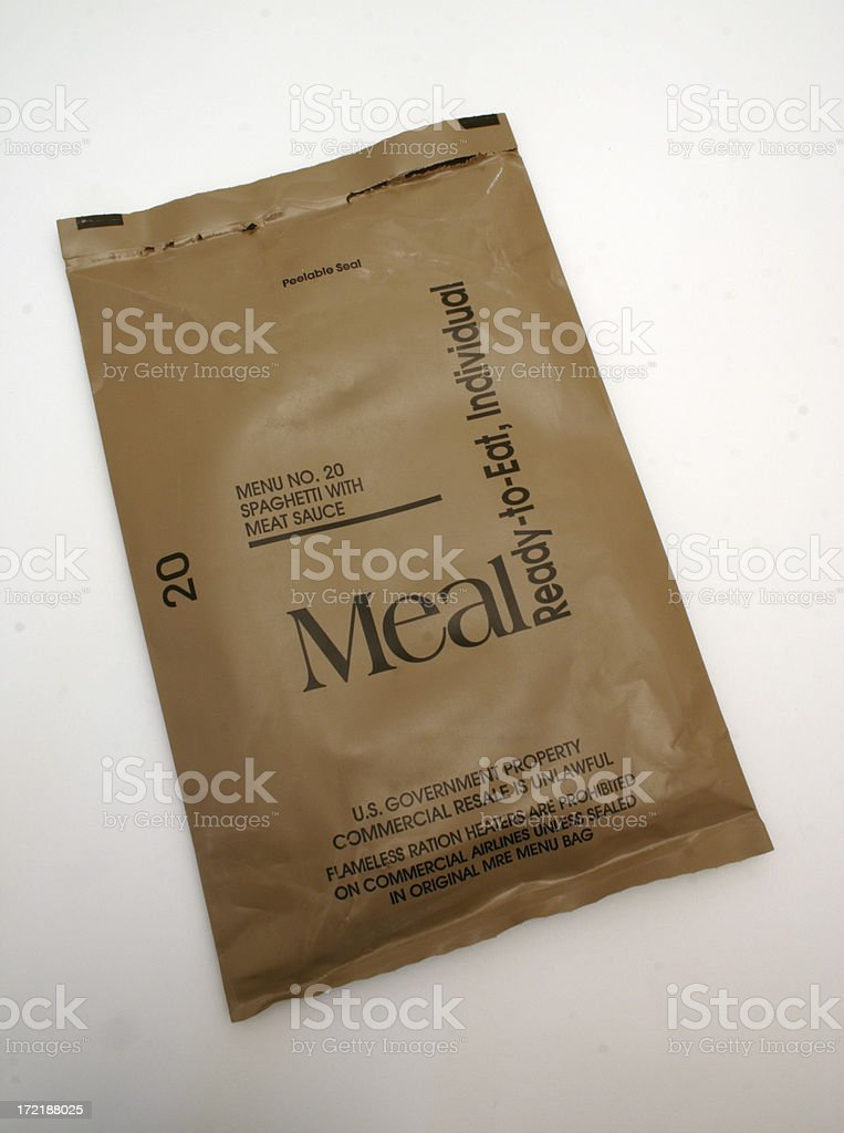 MRE - Spaghetti Wrapper stock photo