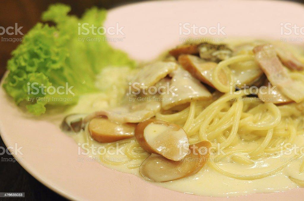 Spaghetti,White sauce stock photo
