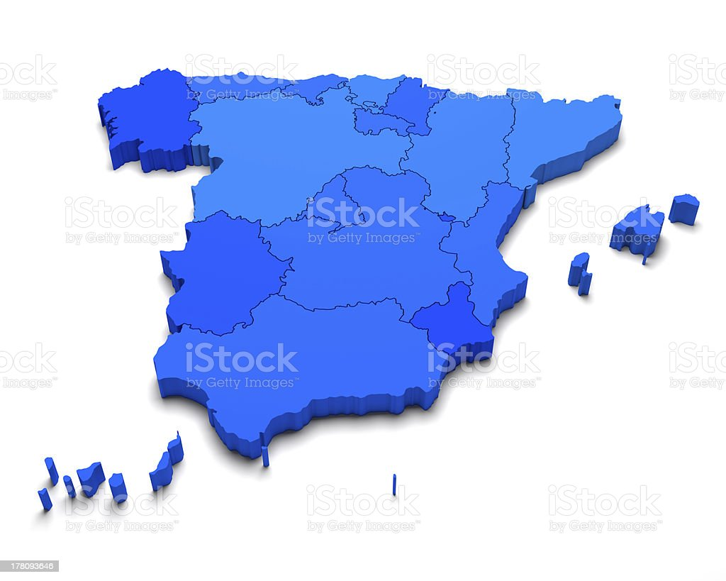 Spain 3D blue map stock photo