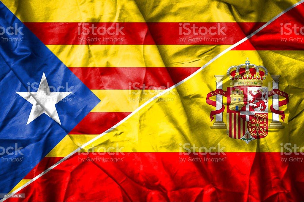 Spain and Catalonia Flag stock photo
