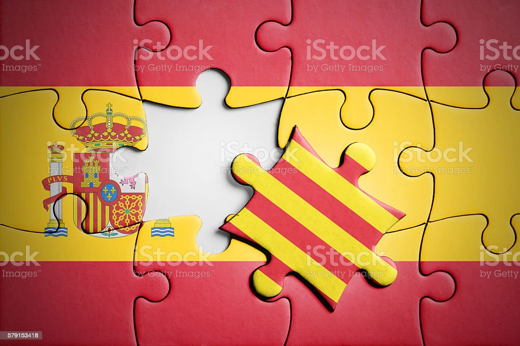 Spain and Catalonia. Separatism concept puzzle. stock photo