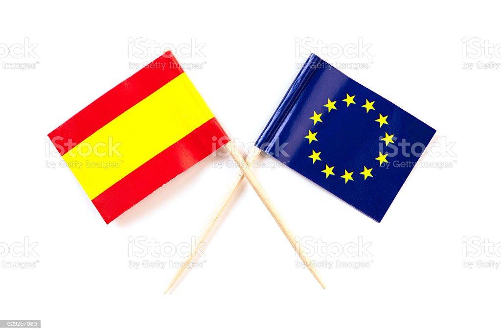 spain and eu flag stock photo