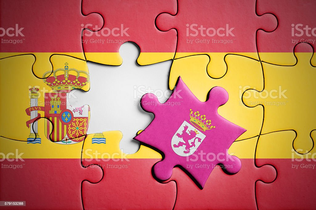 Spain and Leon. Separatism concept puzzle. stock photo