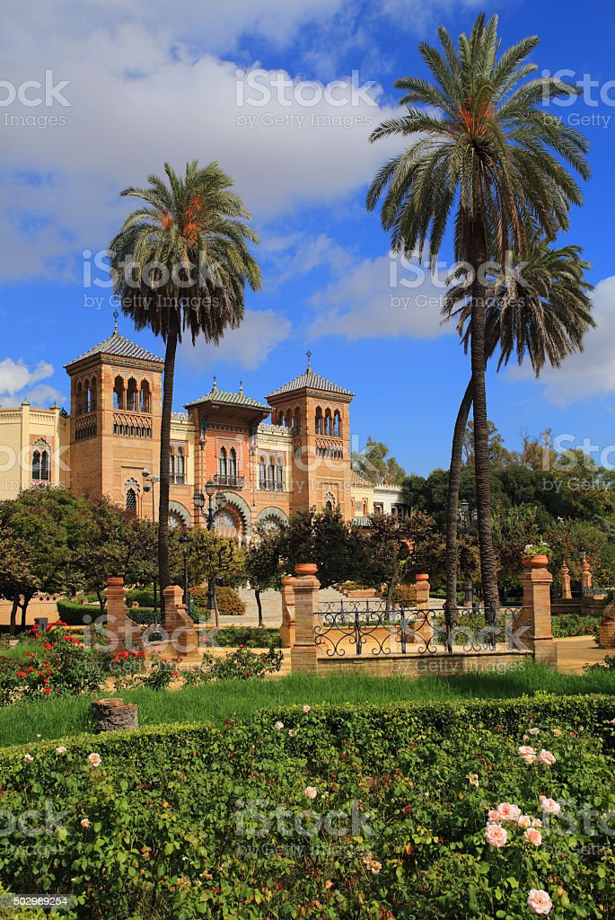 Spain, Andalucia, Seville. Parque de María Luisa and Mudéjar Pavilion stock photo