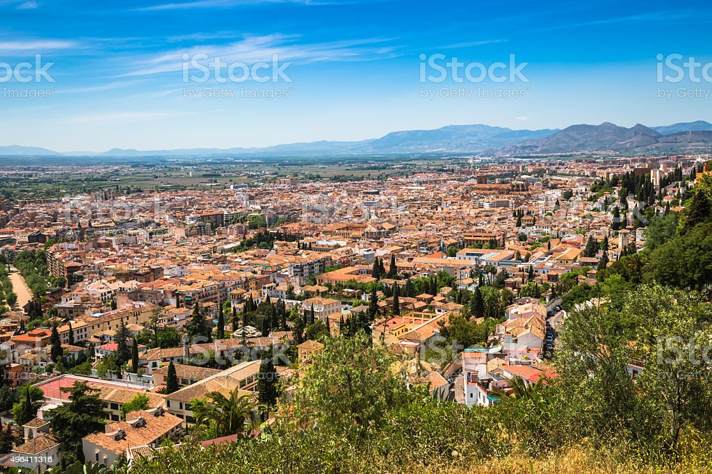 Spain, Andalusia Region, Granada town panorama from Alhambra vie stock photo