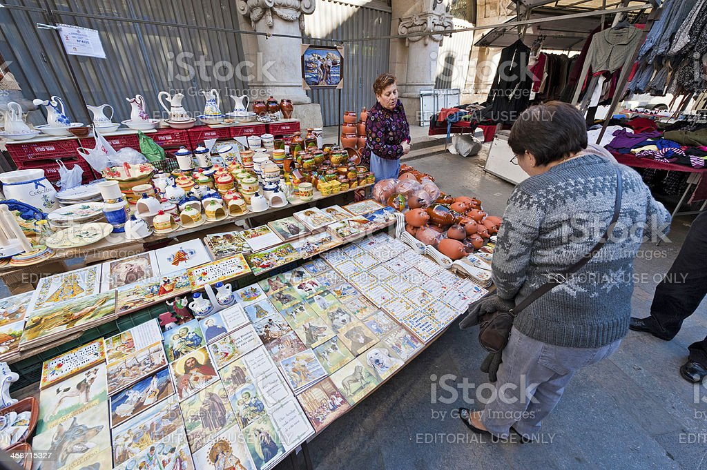Spain ceramic goods market stall trader Valencia royalty-free stock photo