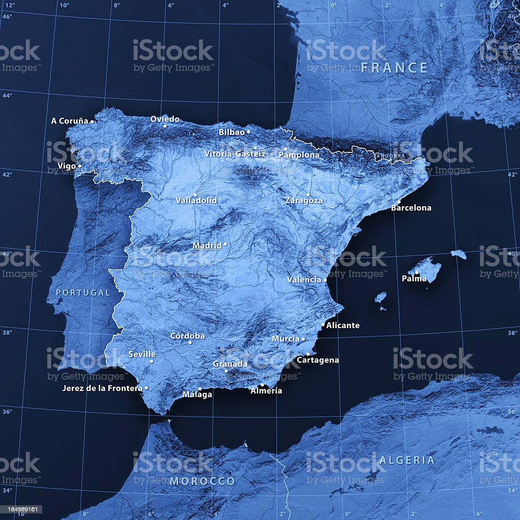 Spain Cities Topographic Map royalty-free stock photo
