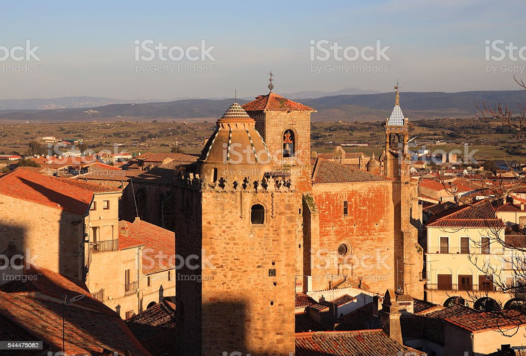 Spain, Extremadura, Caceres, Medieval towers of Trujillo stock photo
