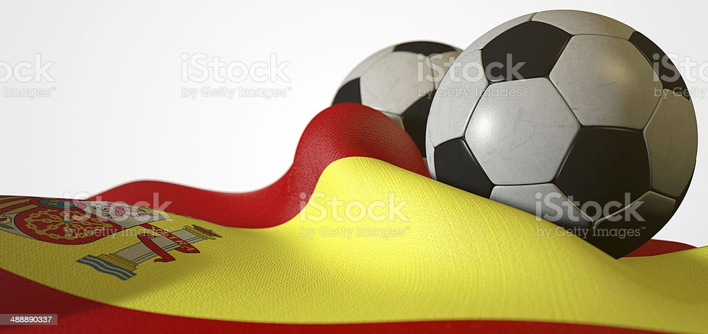 Spain Flag And Soccer Ball stock photo