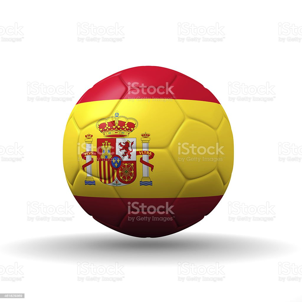 Spain flag textured on soccer ball with clipping path stock photo