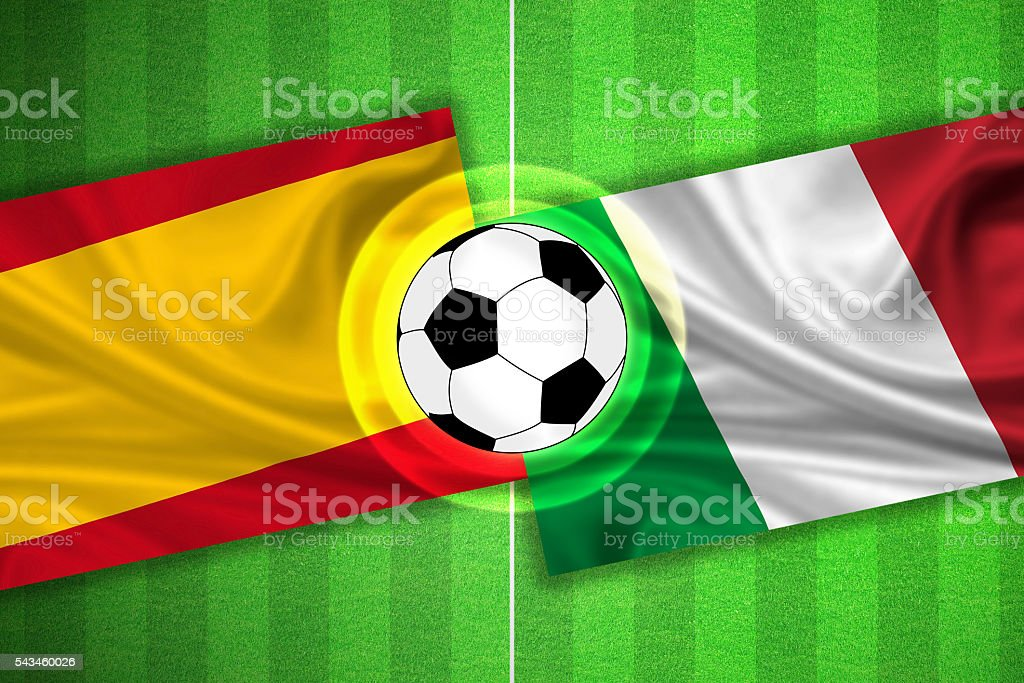 Spain - Italy - Soccer field with ball stock photo