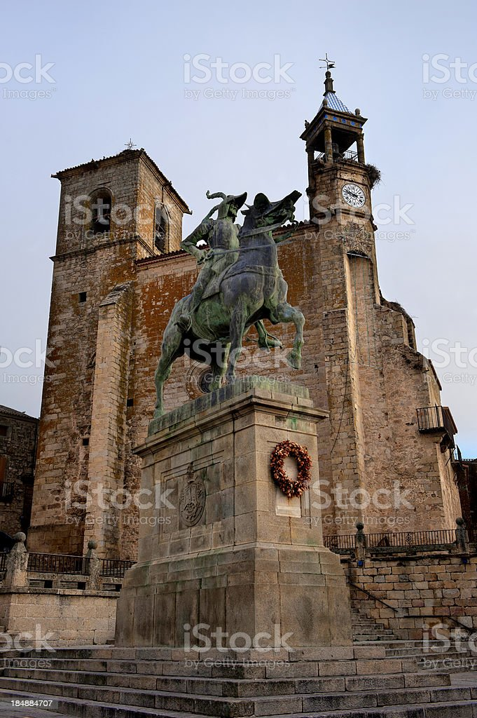 Spain monument in Trujillo. Caceres stock photo