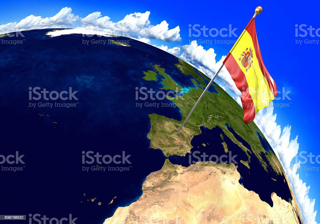 Spain national flag marking the country location on world map stock photo