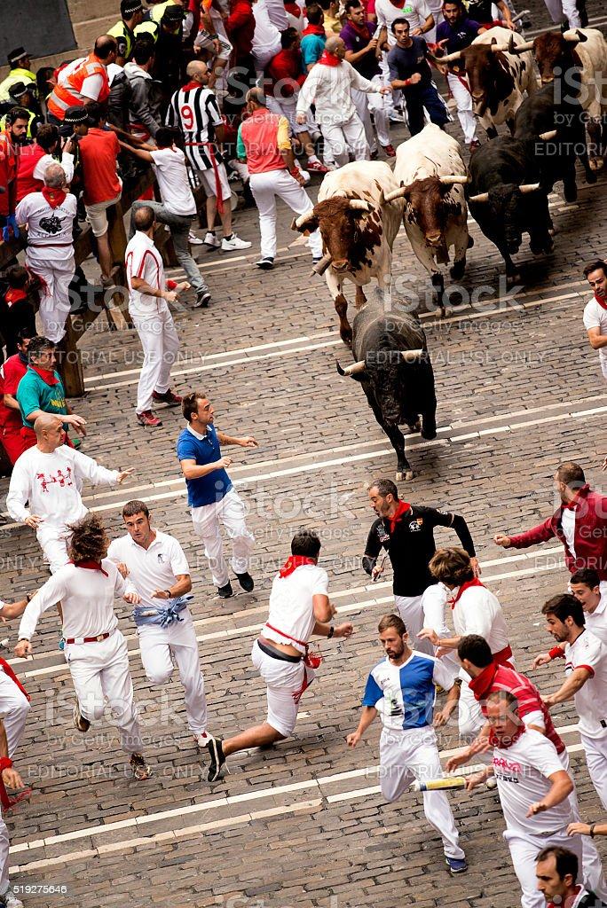Spain Navarra Pamplona 11 July 2015 running with the bull stock photo