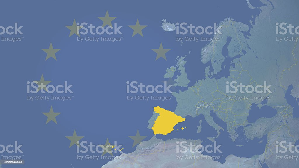 Spain part of  European union since 1986 16:9 with borders royalty-free stock photo