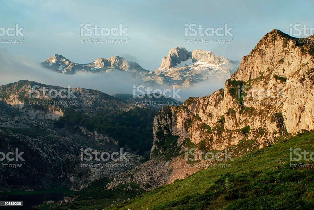 Spain Picos de Europa Mountain Morning Landscape stock photo