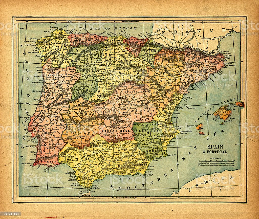 spain & portugal vintage map stock photo