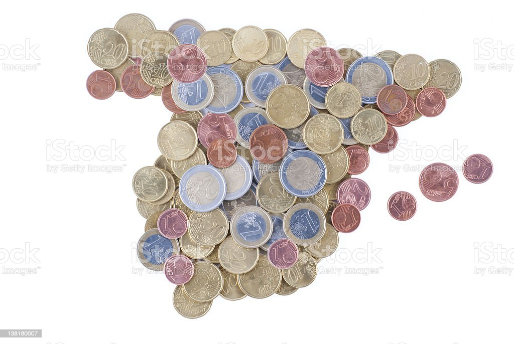 Spain shape country with Euro currency stock photo