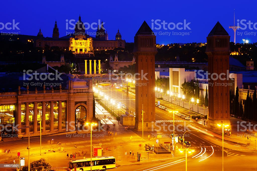 Spain square at Barcelona in evening royalty-free stock photo