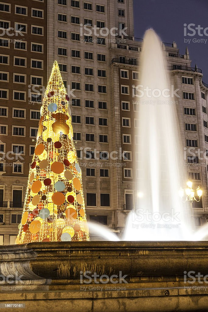Spain square of Madrid at Christmas royalty-free stock photo