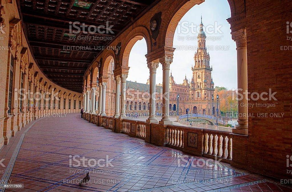 Spain Square, Plaza de Espana, Seville, Spain. View from porch stock photo