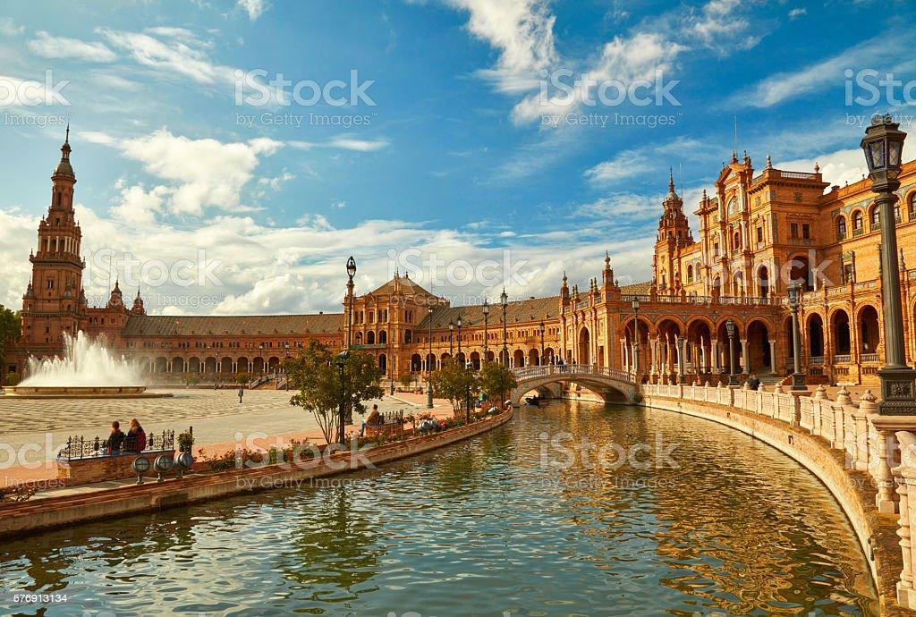 Spain Square (Plaza de Espana). Seville, Spain. stock photo